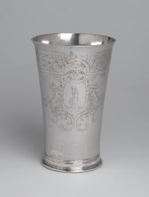 Gerrit Onckelbag (American, 1670-1732). <em>Beaker, One of a Pair</em>, ca. 1700. Silver, 6 7/8 x 3 3/8 x 3 3/8 in. (17.5 x 8.6 x 8.6 cm). Lent by Reformed Dutch Protestant Church, L54.1b. Creative Commons-BY (Photo: Brooklyn Museum, L54.1b_view1_PS2.jpg)