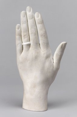 Charles Cartlidge & Co. (1848-1856). <em>Cast of the Left Hand of Ann Cartlidge Tyndale</em>, ca. 1850. Unglazed porcelain, 1 7/8 x 3 5/8 x 7 1/4 in. (4.8 x 9.2 x 18.4 cm). Lent by Mrs. Henry W. Patten, L65.14. Creative Commons-BY (Photo: Brooklyn Museum, L65.14.jpg)