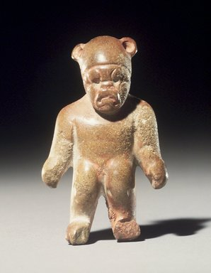 Olmec. <em>Standing Figurine</em>, 800-500 B.C.E. Felsite, traces of red pigment, 2 1/4 x 1 3/8 x 3/4 in. (5.7 x 3.5 x 1.9 cm). Collection of Christopher B. Martin, L75.15. Creative Commons-BY (Photo: Brooklyn Museum, L75.15_transpc003.jpg)