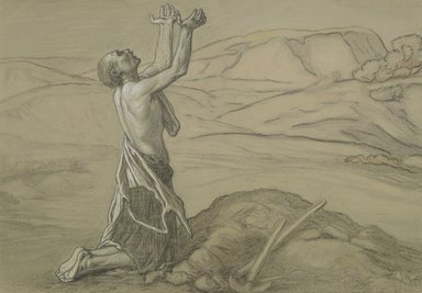 Elihu Vedder (American, 1836-1923). <em>Study for Prayer for Death in the Desert</em>, ca. 1867. Charcoal, white chalk, pastel, and black crayon on gray-green, moderately thick, slightly textured wove paper., 12 5/16 x 17 7/16 in. (31.3 x 44.3 cm). Lent by Mr. and Mrs. Wilbur L. Ross, Jr., L81.62 (Photo: Brooklyn Museum, L81.62_PS6.jpg)