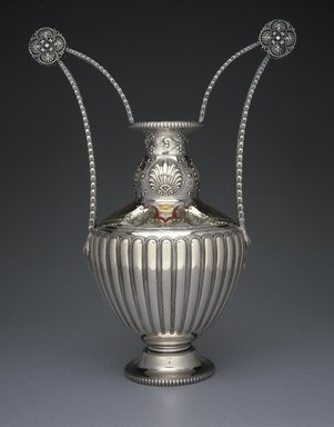 Tiffany & Company (American, founded 1853). <em>Vase</em>, 1900. Silver with enamel inlay, 18 5/8 x 14 3/16 x 4 13/16 in. (47.3 x 36 x 12.2 cm). Anonymous loan, L83.13. Creative Commons-BY (Photo: Brooklyn Museum, L83.13_colorcorrected_SL1.jpg)