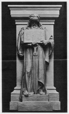 Charles Keck (American, 1875-1951). <em>The Genius of Islam</em>, 1909. Indiana limestone, Approx. height: 144 in. (365.8 cm). Brooklyn Museum, Gift of the City of New York, Parks and Recreation, 09.937.15. Creative Commons-BY (Photo: , PER_Bulletin_of_the_Brooklyn_Institute_of_Arts_and_Sciences_v01_p067_09.937.15.jpg)