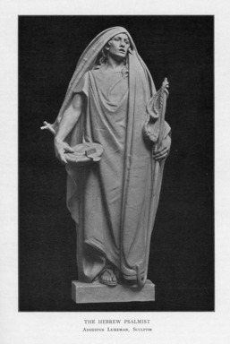 Augustus Lukeman (American, 1871-1935). <em>The Hebrew Psalmist</em>, 1909. Indiana limestone, Approx. height: 144 in. (365.8 cm). Brooklyn Museum, Gift of the City of New York, Parks and Recreation, 09.937.12. Creative Commons-BY (Photo: , PER_Bulletin_of_the_Brooklyn_Institute_of_Arts_and_Sciences_v01_p130_09.937.12.jpg)