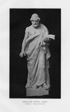 Daniel Chester French (American, 1850-1931). <em>The Greek Epic</em>, 1909. Indiana limestone, Approx. height: 144 in. (365.8 cm). Brooklyn Museum, Gift of the City of New York, Parks and Recreation, 09.937.16. Creative Commons-BY (Photo: , PER_Bulletin_of_the_Brooklyn_Institute_of_Arts_and_Sciences_v01_p529_09.937.16.jpg)