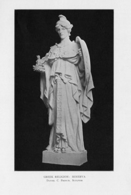 Daniel Chester French (American, 1850-1931). <em>Greek Religion</em>, 1909. Indiana limestone, Approx. height: 144 in. (365.8 cm). Brooklyn Museum, Gift of the City of New York, Parks and Recreation, 09.937.21. Creative Commons-BY (Photo: , PER_Bulletin_of_the_Brooklyn_Institute_of_Arts_and_Sciences_v02_p048_09.937.21.jpg)