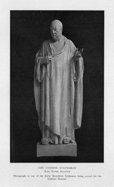 Karl Bitter (American, 1867-1915). <em>Chinese Philosophy</em>, 1909. Indiana limestone, Approx. height: 144 in. (365.8 cm). Brooklyn Museum, Gift of the City of New York, Parks and Recreation, 09.937.7. Creative Commons-BY (Photo: Brooklyn Museum, PER_Bulletin_of_the_Brooklyn_Institute_of_Arts_and_Sciences_v1_p221_09.937.7.jpg)
