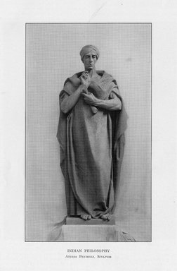 Attilio Piccirilli (American, born Italy, 1868-1945). <em>Indian Law</em>, 1909. Indiana limestone, Approx. height: 144 in. (365.8 cm). Brooklyn Museum, Gift of the City of New York, Parks and Recreation, 09.937.2. Creative Commons-BY (Photo: Brooklyn Museum, PER_Bulletin_of_the_Brooklyn_Institute_of_Arts_and_Sciences_v1_p408_09.937.2.jpg)