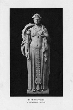 Attilio Piccirilli (American, born Italy, 1868-1945). <em>Indian Literature</em>, 1909. Indiana limestone, Approx. height: 144 in. (365.8 cm). Brooklyn Museum, Gift of the City of New York, Parks and Recreation, 09.937.3. Creative Commons-BY (Photo: Brooklyn Museum, PER_Bulletin_of_the_Brooklyn_Institute_of_Arts_and_Sciences_v1_p433_09.937.3.jpg)