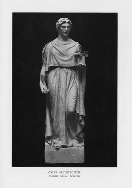 Herbert Adams (American, 1858-1945). <em>Greek Architecture</em>, 1909. Indiana limestone, Approx. height: 144 in. (365.8 cm). Brooklyn Museum, Gift of the City of New York, Parks and Recreation, 09.937.23. Creative Commons-BY (Photo: Brooklyn Museum, PER_Bulletin_of_the_Brooklyn_Institute_of_Arts_and_Sciences_v2_p110_09.937.23.jpg)