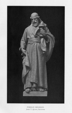 Edmond T. Quinn (American, 1868-1929). <em>Persian Religion</em>, 1909. Indiana limestone, Approx. height: 144 in. (365.8 cm). Brooklyn Museum, Gift of the City of New York, Parks and Recreation, 09.937.1. Creative Commons-BY (Photo: Brooklyn Museum, PER_Bulletin_of_the_Brooklyn_Institute_of_Arts_and_Sciences_v2_p18_09.937.1.jpg)