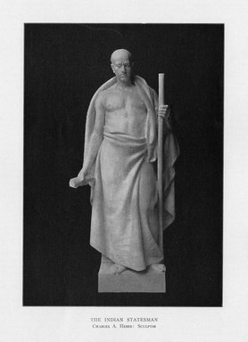 Edward C. Potter (American, 1857-1923). <em>Indian Philosophy</em>, 1909. Indiana limestone, Approx. height: 144 in. (365.8 cm). Brooklyn Museum, Gift of the City of New York, Parks and Recreation, 09.937.4. Creative Commons-BY (Photo: Brooklyn Museum, PER_Bulletin_of_the_Brooklyn_Institute_of_Arts_and_Sciences_v2_p292_09.937.4.jpg)