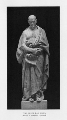 George Thomas Brewster (American, 1862-1943). <em>The Greek Statesman</em>, 1909. Indiana limestone, Approx. height: 144 in. (365.8 cm). Brooklyn Museum, Gift of the City of New York, Parks and Recreation, 09.937.19. Creative Commons-BY (Photo: Brooklyn Museum, PER_Bulletin_of_the_Brooklyn_Institute_of_Arts_and_Sciences_v2_p389_09.937.19.jpg)