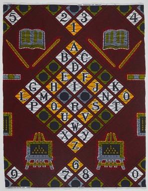 Vlisco B.V.. <em>Wax Print Textile, ABC Pattern</em>, ca. 2018. Cotton, synthetic dye, 36 × 36 in. (91.4 × 91.4 cm). Brooklyn Museum, Gift of Vlisco B.V., 2019.1.2 (Photo: , TL2018.76.2_PS9.jpg)