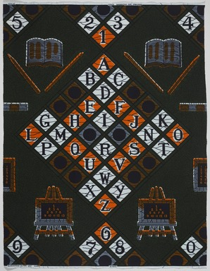 Vlisco B.V.. <em>Wax Print Textile, ABC Pattern</em>, ca. 2018. Cotton, synthetic dye, 36 × 36 in. (91.4 × 91.4 cm). Brooklyn Museum, Gift of Vlisco B.V., 2019.1.3 (Photo: , TL2018.76.3_PS9.jpg)