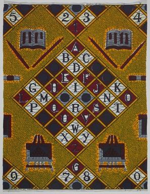 Vlisco B.V.. <em>Wax Print Textile, ABC Pattern</em>, ca. 2018. Cotton, synthetic dye, 36 × 36 in. (91.4 × 91.4 cm). Brooklyn Museum, Gift of Vlisco B.V., 2019.1.5 (Photo: , TL2018.76.5_PS9.jpg)