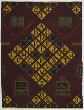 Vlisco B.V.. <em>Wax Print Textile, ABC Pattern</em>, ca. 2018. Cotton, synthetic dye, 36 × 36 in. (91.4 × 91.4 cm). Brooklyn Museum, Gift of Vlisco B.V., 2019.1.6 (Photo: , TL2018.76.6_PS9.jpg)