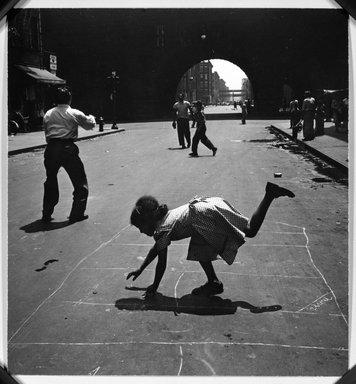 Walter Rosenblum (American, 1919-2006). <em>Children Playing - 105th Street</em>, 1948. Gelatin silver photograph, 7 15/16 x 7 1/4 in.  (20.2 x 18.4 cm). Brooklyn Museum, Brooklyn Museum Collection, X1008.7. © artist or artist's estate (Photo: Brooklyn Museum, X1008.7_bw_slide_SL3.jpg)