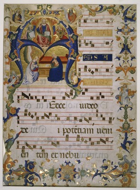 Don Simone Camaldolese. <em>Frontispiece from a Choir Book</em>, ca. 1390. Ink on vellum, 23 3/8 x 17 5/8 in. (59.4 x 44.8 cm) (irregular left edge). Brooklyn Museum, Brooklyn Museum Collection, X1015 (Photo: , X1015_SL3.jpg)