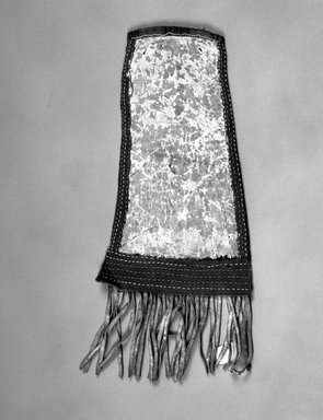 Great Lakes (unidentified). <em>Long Beaded Hide Pouch</em>. Hide, cotton, wool, beads, 21 1/16 x 9 1/16 in.  (53.5 x 23.0 cm). Brooklyn Museum, Brooklyn Museum Collection, X101. Creative Commons-BY (Photo: Brooklyn Museum, X101_bw.jpg)
