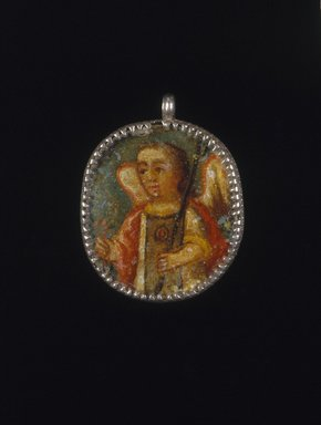 Unknown. <em>Painted Medallion in Locket Frame, Recto: Angel, Verso: Saint Barbara with Attributes of a Castle Tower and Martyr's Palm Frond</em>, 18th-19th century. Oil on metal in silver frame, 2 1/8 x 1 5/8 x 1/4in. (5.4 x 4.1 x 0.6cm). Brooklyn Museum, Brooklyn Museum Collection, X1022a-b. Creative Commons-BY (Photo: Brooklyn Museum, X1022a-b_recto_SL1.jpg)