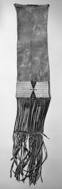 Sioux (Plains). <em>Pipe Bag</em>. Hide, beads, porcupine quill, 31 11/16 x 6 5/16 in.  (80.5 x 16 cm). Brooklyn Museum, Brooklyn Museum Collection, X102. Creative Commons-BY (Photo: Brooklyn Museum, X102_bw.jpg)
