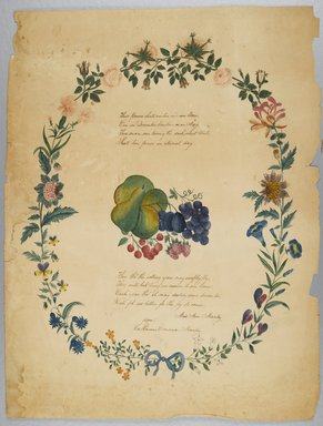 Catharine Emma Manley. <em>[Untitled] (Poem and Decorative Wreath)</em>, n.d. Watercolor over graphite with text in ink on paper, Sheet: 21 5/16 x 16 1/4 in. (54.1 x 41.3 cm). Brooklyn Museum, Brooklyn Museum Collection, X1042.133 (Photo: Brooklyn Museum, X1042.133_PS2.jpg)