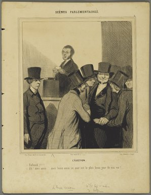Honoré Daumier (French, 1808-1879). <em>The Election (L'Élection)</em>, 1843. Lithograph on wove paper, Image: 8 15/16 x 7 3/4 in. (22.7 x 19.7 cm). Brooklyn Museum, Brooklyn Museum Collection, X1042.52 (Photo: Brooklyn Museum, X1042.52_PS2.jpg)