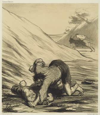 Honoré Daumier (French, 1808-1879). <em>The Ass and the Two Thieves (L'Ane et les deux voleurs)</em>, 1862. Lithograph on wove China paper, Image: 9 x 7 7/8 in. (22.8 x 20.0 cm). Brooklyn Museum, Brooklyn Museum Collection, X1042.53 (Photo: Brooklyn Museum, X1042.53_PS2.jpg)