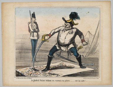Honoré Daumier (French, 1808-1879). <em>General Giulay Tears His Enemies in Pieces... at Least on the Map (Le général Giulay taillant ses ennemis en pièces.... sur la carte!..)</em>, 1859. Lithograph with hand coloring on wove paper, Sheet: 10 7/8 x 14 1/8 in. (27.6 x 35.8 cm). Brooklyn Museum, Brooklyn Museum Collection, X1042.79 (Photo: Brooklyn Museum, X1042.79_PS2.jpg)