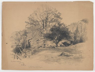 John Francis Murphy (American, 1853-1921). <em>Berkshire Valley, Jersey</em>, October 11, 1876. Graphite on paper, Sheet: 10 7/8 x 14 3/8 in. (27.6 x 36.5 cm). Brooklyn Museum, Brooklyn Museum Collection, X1042.80 (Photo: Brooklyn Museum, X1042.80_IMLS_PS3.jpg)