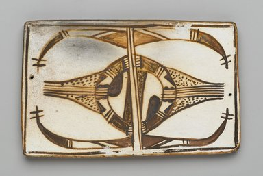 Hopi Pueblo. <em>Tile</em>, late 19th-early 20th century. Clay, slip, 6 1/8 x 3 3/4 in. (15.5 x 9.5 cm). Brooklyn Museum, Brooklyn Museum Collection, X1047.12. Creative Commons-BY (Photo: Brooklyn Museum, X1047.12_PS2.jpg)
