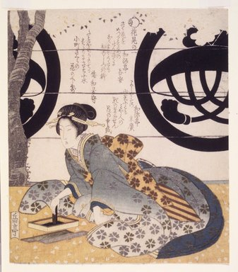 <em>Beauty Grinding Ink for Writing Poetry, First Flower Viewing</em>. Color woodblock print on paper, 8 1/8 x 7 3/16 in.  (20.6 x 18.3 cm). Brooklyn Museum, Brooklyn Museum Collection, X1051.1 (Photo: Brooklyn Museum, X1051.1_transp4617.jpg)