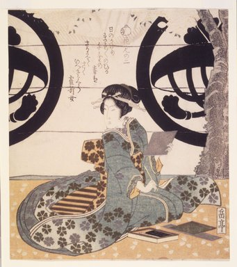 Gakutei Harunobu (Japanese, ca. 1786-1868). <em>Beauty Looking over Her Shoulder while Holding Paper and Brush, Second Flower Viewing</em>. Color woodblock print on paper, 8 1/8 x 7 3/16 in.  (20.6 x 18.3 cm). Brooklyn Museum, Brooklyn Museum Collection, X1051.2 (Photo: Brooklyn Museum, X1051.2_transp4618.jpg)