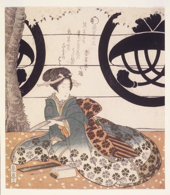 Gakutei Harunobu (Japanese, ca. 1786-1868). <em>Beauty Composing a Poem on a Tanzaku Card, Third Flower Viewing</em>. Color woodblock print on paper, 8 1/8 x 7 3/16 in.  (20.6 x 18.3 cm). Brooklyn Museum, Brooklyn Museum Collection, X1051.3 (Photo: Brooklyn Museum, X1051.3_transp4619.jpg)