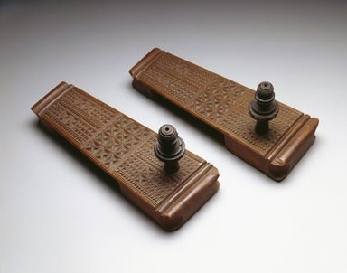 Swahili. <em>Pair of Sandals</em>, late 19th century. Wood, A: 4 × 3 1/2 × 9 11/16 in. (10.2 × 8.9 × 24.6 cm). Brooklyn Museum, Brooklyn Museum Collection, X1054a-b. Creative Commons-BY (Photo: , X1054a-b_SL3.jpg)