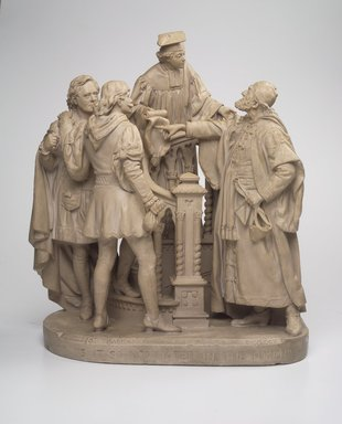 John Rogers (American, 1829-1904). <em>Is It So Nominated in the Bond?</em>, 1880. Painted plaster, 23 x 21 x 11 in. (58.4 x 53.3 x 27.9 cm). Brooklyn Museum, Brooklyn Museum Collection, X1058 (Photo: Brooklyn Museum, X1058.jpg)