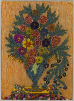 Israel Litwak (American, 1867-1960). <em>Untitled (Flowers in a vase)</em>, ca. 1935. Crayon and graphite or ball point ink (?) on paper, sheet: 15 1/16 x 10 15/16 in. (38.3 x 27.8 cm). Brooklyn Museum, Brooklyn Museum Collection, X1059. © artist or artist's estate (Photo: Brooklyn Museum, X1059_PS1.jpg)