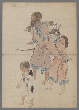 <em>Ainu Hunters</em>, 19th century. Ink and color on paper, 15 x 10 5/8 in. (38.1 x 27 cm). Brooklyn Museum, Brooklyn Museum Collection, X1085 (Photo: , X1085_IMLS_PS3.jpg)