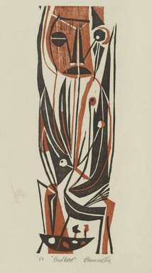 Edmond Casarella (American, 1920-1996). <em>Bird God</em>, 1950. Woodcut in color, 8 1/4 x 2 5/8 in. (21 x 6.7 cm). Brooklyn Museum, Brooklyn Museum Collection, X1089. © artist or artist's estate (Photo: Brooklyn Museum, X1089_PS6.jpg)