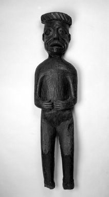 Gwa'sala Kwakwaka'wakw. <em>Standing Potlatch Figure</em>, late 19th century. Wood, 60 11/16 x 14 3/16 x 5 1/2 in. (154.1 x 36 x 14 cm). Brooklyn Museum, Brooklyn Museum Collection, X1118.2. Creative Commons-BY (Photo: Brooklyn Museum, X1118.2_view1_bw.jpg)