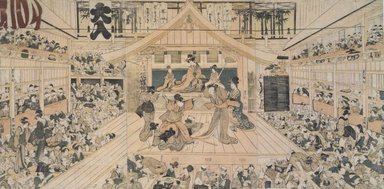 Utagawa Toyokuni I (Japanese, 1769-1825). <em>Interior View of a Kabuki Theater</em>, 1793. Woodblock color print, 14 7/8 x 29 15/16 in. (37.8 x 76 cm). Brooklyn Museum, Brooklyn Museum Collection, X1119.3a-c (Photo: Brooklyn Museum, X1119.3a-c.jpg)
