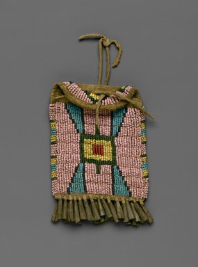 Cheyenne. <em>Ration Ticket Bag</em>, late 19th-early 20th century. Beads, metal, hide, 3 1/2 x 4 3/4 in. (8.9 x 12.1 cm). Brooklyn Museum, Brooklyn Museum Collection, X1126.9. Creative Commons-BY (Photo: Brooklyn Museum, X1126.9_PS2.jpg)