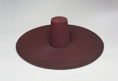 <em>Hat (Jurip)</em>, 18th-19th century. Horsehair, bamboo, paper, lacquer, metal, 7 1/2 x 25 3/8 in. (19 x 64.5 cm). Brooklyn Museum, Brooklyn Museum Collection, X1144.1. Creative Commons-BY (Photo: , X1144.1_PS11.jpg)