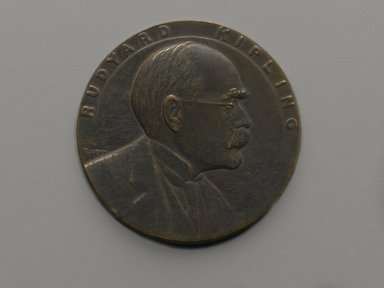 Julio Kilenyi (American, born Hungary, 1885-1959). <em>Rudyard Kipling 70th Birthday Tribute Medal</em>, 1935. Bronze, 3 x 3 x 1/4 in. (7.6 x 7.6 x 0.6 cm). Brooklyn Museum, Brooklyn Museum Collection, X1180.4. Creative Commons-BY (Photo: Brooklyn Museum, X1180.4_front_PS2.jpg)