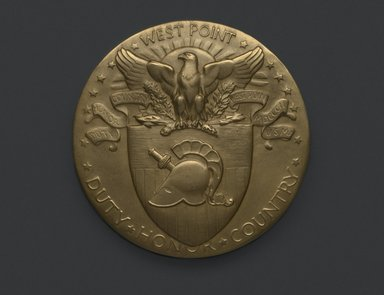 Laura Gardin Fraser (American, 1889-1966). <em>Sesquicentennial Medal of the U.S. Military Academy</em>, ca. 1952. Bronze, 3 x 3 x 3/8 in. (7.6 x 7.6 x 1 cm). Brooklyn Museum, Brooklyn Museum Collection, X1185. Creative Commons-BY (Photo: Brooklyn Museum, X1185_front_PS2.jpg)
