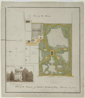 Unknown (G.M.H.). <em>Plan of the Grounds of Matthew Clarkson, Esq. Flatbush Long Island</em>, September 1858. Ink and watercolor on paper
