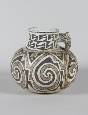 Ancient Pueblo (Anasazi). <em>Jar with Animal Head Handle and Geometrical Design</em>, 400-800. Ceramic, 6 1/4 x 6 1/2 in. (15.9 x 16.5 cm). Brooklyn Museum, Brooklyn Museum Collection, X1196. Creative Commons-BY (Photo: Brooklyn Museum, X1196_PS5.jpg)