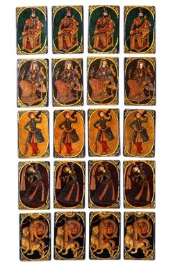 <em>Serbaz or Soldier Playing Card for the Game of Nas</em>, mid-19th century. Ink, opaque watercolor, and gold on wood or papiermâché