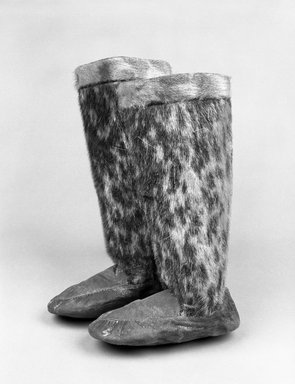 Eskimo. <em>One Child's Boot</em>. Hide, spotted seal fur, foot: 6 5/8 x 3 1/4 in. Brooklyn Museum, Brooklyn Museum Collection, X322. Creative Commons-BY (Photo: Brooklyn Museum, X322_bw.jpg)
