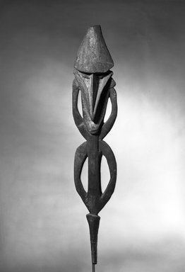 <em>Ancestral Figure</em>, late 19th-early 20th century. Wood, 51 9/16 x 9 1/2 in.  (131 x 24.1 cm). Brooklyn Museum, Brooklyn Museum Collection, X357. Creative Commons-BY (Photo: Brooklyn Museum, X357_acetate_bw.jpg)